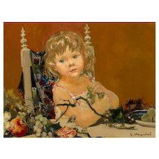"GEORGES ROBERT CHEYSSIAL (French, 1907-1997) Original Signed Oil On Canvas ""Child With Fruits"""