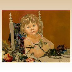 """GEORGES ROBERT CHEYSSIAL (French, 1907-1997) Original Signed Oil On Canvas """"Child With Fruits"""""""