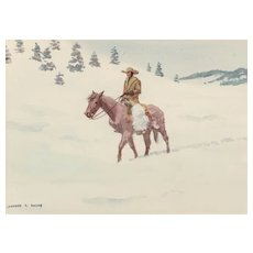 "LEONARD HOWARD REEDY (American 1899-1956) Original Signed Watercolor ""The Winter Trail"""