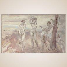 "CONTINENTAL SCHOOL (20th Century) Original Oil On Canvas ""Nude Study"""