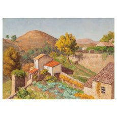 "EMILE LEJEUNE (Swiss, 1885–1964) - Original Signed/Dated Oil on Canvas ""Cagnes"""