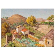 "EMILE LEJEUNE (Swiss, 1885–1964) - Original Signed/Dated Oil on Canvas ""Cagnes"""