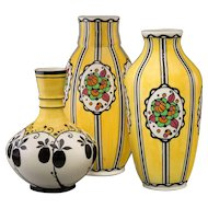 THREE Charles Catteau for Boch Freres Enameled Earthenware Vases, circa 1922 - 1924 - Art Pottery At Its Best!