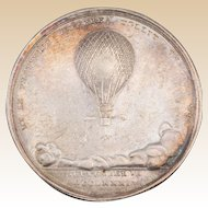 18th Century Vincent Lunardi First Balloon Flight in England Commemorative Medal, circa 1785