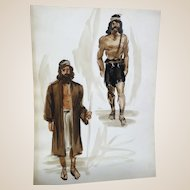 JEAN LOUIS (French/American 1907 - 1997) - Original Costume Sketches For Salome (Columbia, 1953)  - Alan Badel as John The Baptist - Mixed Media