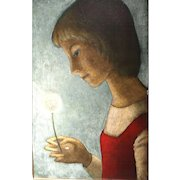 """BRADI BARTH  (Swiss/Belgian 1922 - 2007)  -Original Signed Oil On Canvas   """"Young Girl with Dandelion, 1983"""""""
