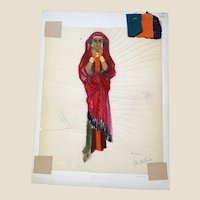 """JEAN LOUIS (French/American 1907 - 1997) - Original Costume Sketch For Salome (Columbia, 1953) -, """"CARAVAN"""" - Mixed Media With Three Fabric Swatches"""