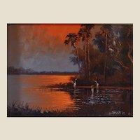 "WILLIE DANIELS (American Born 1950) - Florida Highwaymen Original Signed Oil ""Fire Sky Over The Marsh """