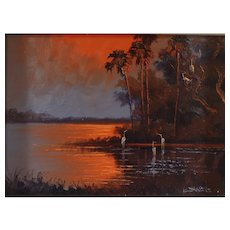 "WILLIE DANIELS (American Born 1950) - Florida Highwayman Original Signed Oil ""Fire Sky Over The Marsh """