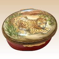 Bilston and Battersea Halcyon Leopard Enamel Trinket Box,, From England