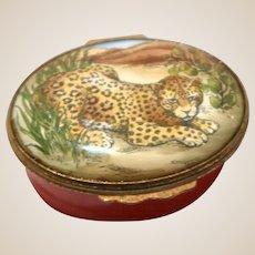 Bilston and Battersea Halcyon Leopard Enamel Trinket Box,, From England