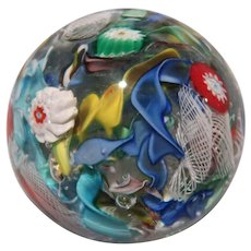 Scattered Millefiori On Clear Ground Paperweight, Absolutely Lovely! - Red Tag Sale Item