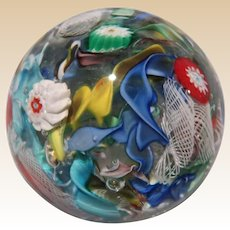Scattered Millefiori On Clear Ground Paperweight, Absolutely Lovely!
