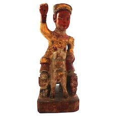 Chinese Parcel Gilt and Polychrome Decorated Carved Wood  Royal Person On Horseback - Red Tag Sale Item