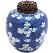Chinese Blue and White Ginger Jar With Carved Wood Lid, Prunus Blossoms