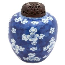 Chinese Blue and White Ginger Jar With Carved Wood Lid, Prunus Blossoms - Red Tag Sale Item