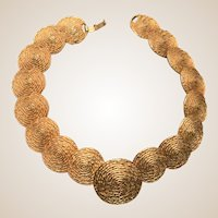 Vintage Kramer Necklace With Beautiful Overlapping Textured Discs, 15 inches long