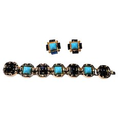 WILLIAM DE LILLO Demi Parure - Faux Lapis and Turquoise Bracelet and Matching  Earclips, Signed