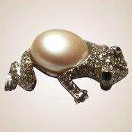 KENNETH LANE Frog Pin With Faux Pearl Center, Green Gemstone Eyes, Rhinestones,