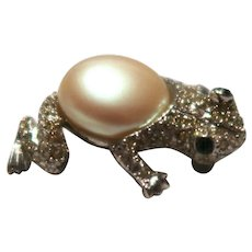 KENNETH LANE Frog Pin With Faux Pearl Center, Green Gemstone Eyes, Rhinestones,