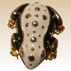 FROG Pin - Enamel on Goldtone With White And Black Details.