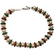Yves Saint Laurent Faux Pearl Necklace With  Alternating Brown and Green Spacer Beads