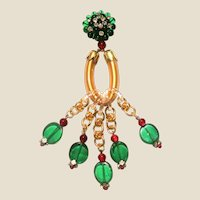 ART DECO Poured Green Glass Brooch - Lucite Rings, Greeen and Pink Drops