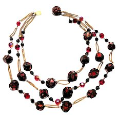 FRENCH Resin Triple Strand Necklace. Gorgeous Red Multifaceted Beads, 1960s.