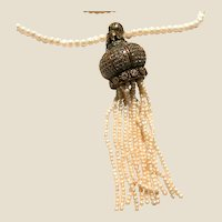 Faux Pearl Tassel Necklace With Gemstone and Faux Pearl Embellishing Tassel