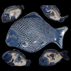 Set of Porcelain Fish Plates -Perfect For Your Buffet - Chinese Mid Century