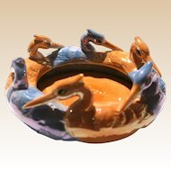 Six Lovely Figural Birds Around This Japanese Bowl or Dish