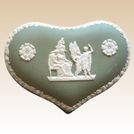 Mother's Day Perfect Gift -  WEDGWOOD Heart Trinket or Dresser Box, Sage Green And White Jasperware,  Lidded,