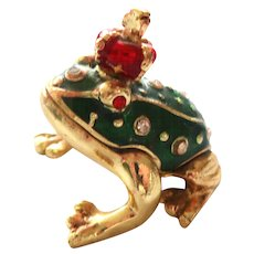 "FROG PRINCE Trinket Box or Pill Box, From Two's Company, Enameled and ""Jeweled"""