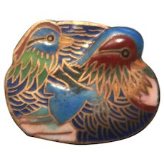 Enamel on Metal Pill Box or Trinket Box, With Two Impressionistic Birds