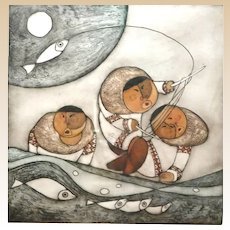 "HUONG (Viet Nam/Alaska, 20th Century) ""Eskimos Fishing""  Signed/Numbered Limited Edition Lithograph. circa 1986"