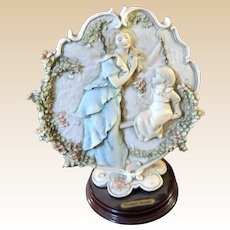 """Mother's Day"" Porcelain  On Wood Base, Signed Guiseppe ARMANI"