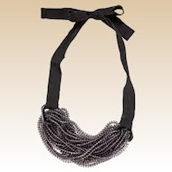 Emporio Armani Ribbon and Beaded Necklace