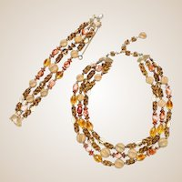 Schiaparelli Triple Strand Demi Parure, Yellow and Rust Triple Strand Beaded Necklace and a Matching Beaded Bracelet