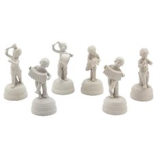 Six Piece Musical Band Of Putti Spanish Bisque Figures