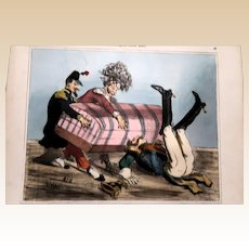 Wonderful Old French Colored Print