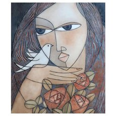 """HUONG (Viet Nam/Alaska, 20th Century) """"Woman With Bird and Flowers""""  Signed/Dated Limited Edition Lithograph. circa 1985"""
