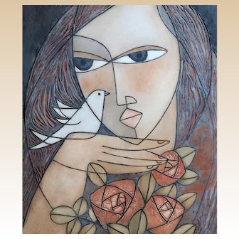 "HUONG (Viet Nam/Alaska, 20th Century) ""Woman With Bird and Flowers""  Signed/Dated Limited Edition Lithograph. circa 1985"