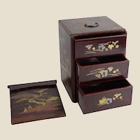 Antique Japanese Inlaid Wood Box With Sliding Door Reveals Three Small Drawers