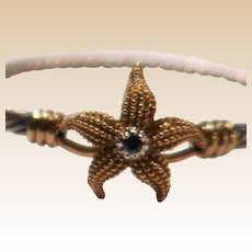 14k Gold and Sterling Silver Starfish Bracelet With Blue Gemstone