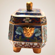 Cloisonne Dresser or Trinket Box, With Lions Heads on Two Sides,  Lidded and Footed