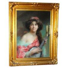 DELPHIN ENJOIRAS   (French, 1857 - 1945) - Original Signed Oil On Canvas Portrait