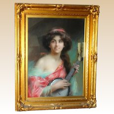 DELPHIN ENJOIRAS   (French, 1857 - 1945) - Original Signed Oil On Canvas Portrait