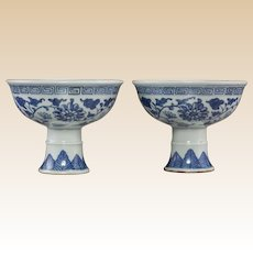 PAIR of Chinese Blue and White Porcelain Stem Bowls, QING Dynasty, 19th Century