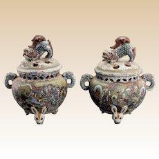 RARE Pair of Japanese Enameled Terracotta Covered Censors, Meiji Period
