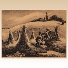 "THOMAS HART BENTON (American, 1889 - 1975) Signed Lithograph ""Loading Corn"""